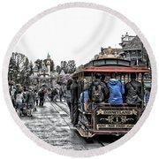Trolley Car Main Street Disneyland Sc Round Beach Towel