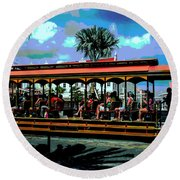 Trolley Stop Round Beach Towel