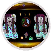 Trolls In Hippie Wood Round Beach Towel