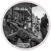 Trombone In New Orleans 2 Round Beach Towel by David Morefield