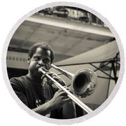 Trombone In New Orleans Round Beach Towel by David Morefield