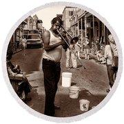 Trombone Man On Royal St. New Orleans Round Beach Towel