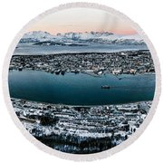 Tromso From The Mountains Round Beach Towel