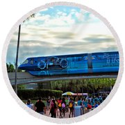 Tron Monorail At Walt Disney World Round Beach Towel by Thomas Woolworth