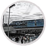 Tron Monorail Wdw In Sc Round Beach Towel by Thomas Woolworth