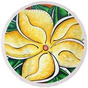 Tropical Abstract Pop Art Original Plumeria Flower Painting Pop Art Tropical Passion By Madart Round Beach Towel