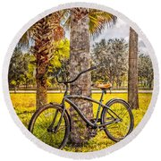 Tropical Bicycle Round Beach Towel
