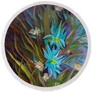 Tropical Blue Round Beach Towel