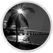 Tropical Bridge In Black And White Round Beach Towel