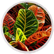 Tropical Croton Round Beach Towel