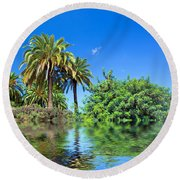 Tropical Exotic Jungle And Water Round Beach Towel