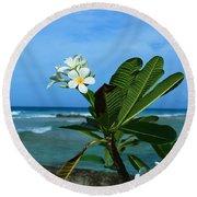 Tropical Flowers Round Beach Towel