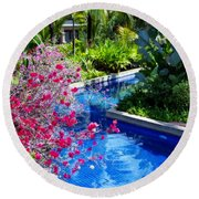 Tropical Garden Around Pool Round Beach Towel