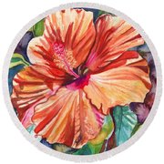 Tropical Hibiscus 5 Round Beach Towel