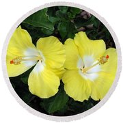 Tropical Hibiscus - Bonaire Wind 01 Round Beach Towel