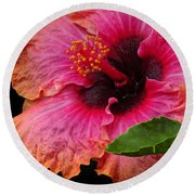Tropical Hibiscus Round Beach Towel