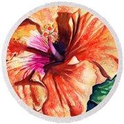 Tropical Hibiscus Round Beach Towel