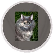 Tropical Kitty Round Beach Towel