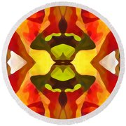 Tropical Leaf Pattern 1 Round Beach Towel