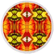 Tropical Leaf Pattern 7 Round Beach Towel