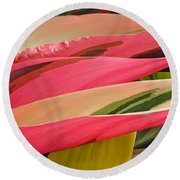 Tropical Leaves Abstract 3 Round Beach Towel