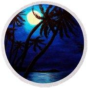 Tropical Moon On The Islands Round Beach Towel