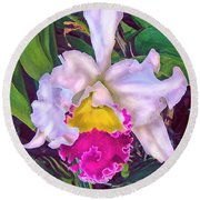 Tropical Orchid Round Beach Towel