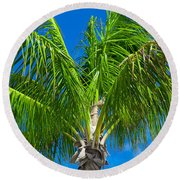 Tropical Palm Portrait Round Beach Towel