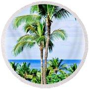 Tropical Palm Trees In Hawaii Round Beach Towel
