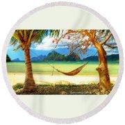 Tropical Peace Round Beach Towel