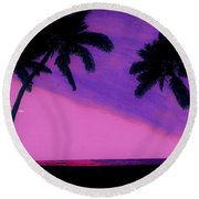 Tropical Pink Sunset Round Beach Towel
