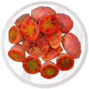 Tropical Red Prickly Pear Fruit  Round Beach Towel