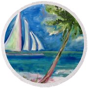 Tropical Sails Round Beach Towel