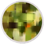 Tropical Shades - Green Abstract Art Round Beach Towel