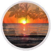 Tropical Spirits - Palm Tree Art By Sharon Cummings Round Beach Towel
