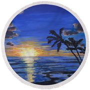 Tropical Sunset Round Beach Towel