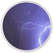 Tropical Thunderstorm Night  Round Beach Towel