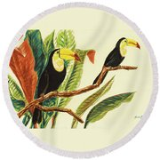 Tropical Toucans II Round Beach Towel