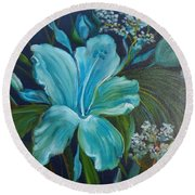 Tropical Turquoise Round Beach Towel