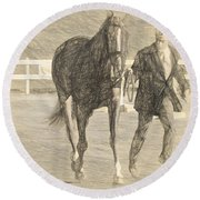 Trot Out Drawn Round Beach Towel