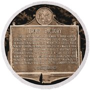 Troup Factory Historical Marker Round Beach Towel