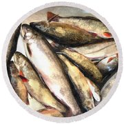 Trout Digital Painting Round Beach Towel