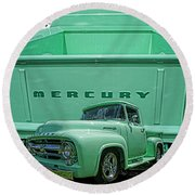 Truck In Tailgate-hdr Round Beach Towel