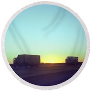 Trucker Sunset Round Beach Towel