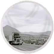 Trucking Across America Round Beach Towel
