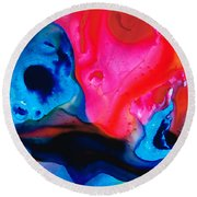 True Colors - Vibrant Pink And Blue Painting Art Round Beach Towel