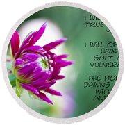 True Face - Poem - Flower Round Beach Towel