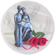 True Love In Silver Round Beach Towel