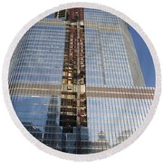 Trump International Hotel Under Construction Chicago Round Beach Towel