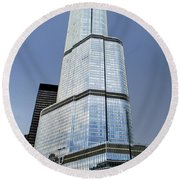 Trump Tower Facade 3 Letter Signage Round Beach Towel